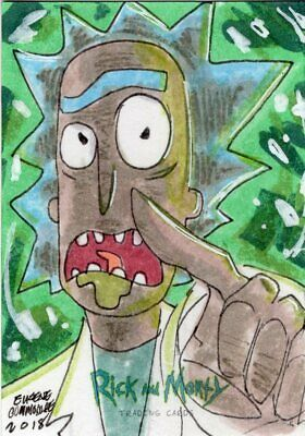 2018 Cryptozoic Rick and Morty Color Hand Drawn Sketch Card by Commodore
