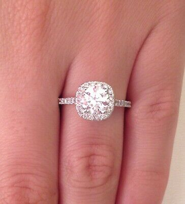 2.00 ct D/SI1 Cushion Halo Round Cut Diamond Engagement Ring 14K White Gold