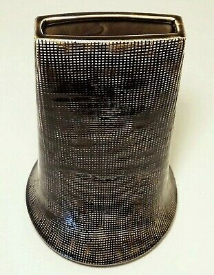 "MID CENTURY MODERN 9"" Tall Brown Glazed & Textured Slim-Wide Porcelain Vase"