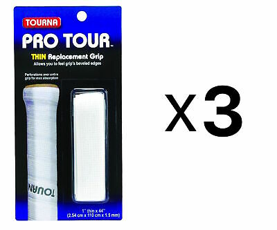 Tourna Tennis Racquet Replacement Grip Pro Tour Grip 1.5 mm-White (3-Pack)