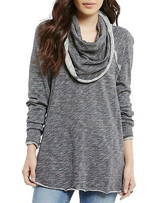5dabc4c9df $88 NEW FREE PEOPLE BEACH Gray Oversized Cocoon Cowl Neck Pullover Tunic Top  S/M