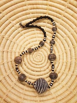 African Clay Spindle Whorl Bead Necklace Choker new Africa ethnic tribal jnsw3