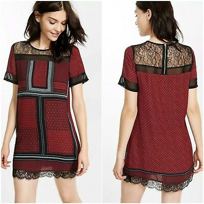 893c6aff9830f Express Shift Dress Womens Size Small Red Black Placed Print Lace Yoke NWT