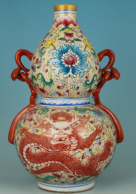 Big Rare Old Porcelain Dragon Calabash Statue Feng Shui God blessing Vase deco