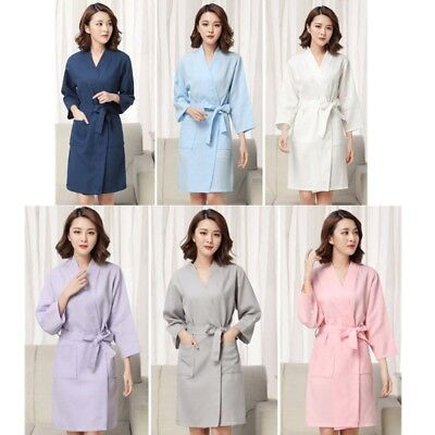 68cc9db426 Ladies 100% Cotton Summer Lightweight Waffle Bath Robe Dressing Gown House  Coat