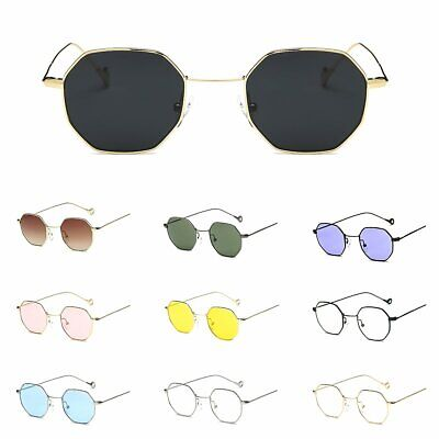 Vintage Hippie Sunglasses Women Men Retro Metal Frame HEXAGONAL Flat Glasses