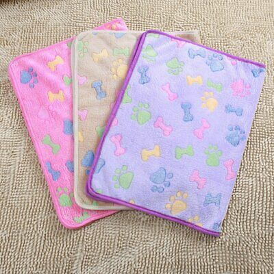 Pet Mat Small Large Paw Print Cat Dog Puppy Fleece Soft Blanket Bed Cushion AS