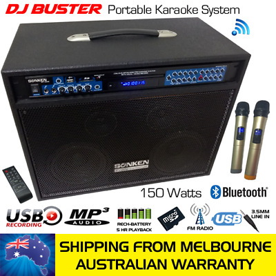 Dj Buster And Mp4000 Karaoke Powered Speaker, Wireless Mics, 810 Songs Family