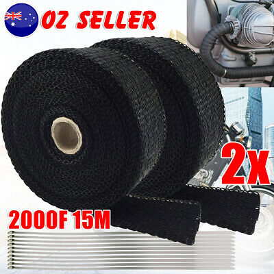 2pcs Heat Resistant 2000F Exhaust Wrap Black 15M 10 Stainless Steel Ties Tool