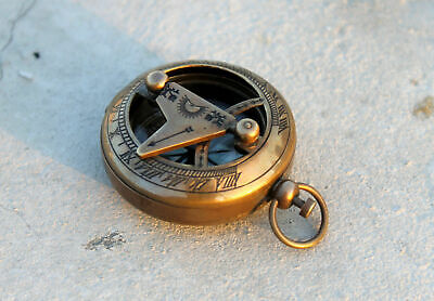Maritime Antique Brass Sundial Compass Vintage Reproduction Handmade Push Button Compass Antiques