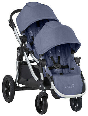 Baby Jogger City Select Twin Tandem Double Stroller w Second Seat Moonlight