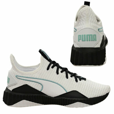aeceebfbe Puma Defy Womens Trainers Slip On Lace Running Shoes White Black 190949 03  Q6F