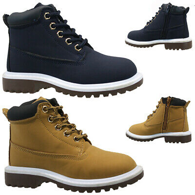 New Boys Kids Casual Zip Lace Up Winter Walking Ankle Boots Trainers Shoes Size