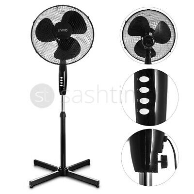 "Black 16"" Pedestal Oscillating Stand Standing Cooling Fan Home Cool Air Tower"