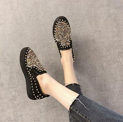 Womens Loafers Casual Shoes Bowknot Sequins Flats Pull On Moccasin Comfort T318