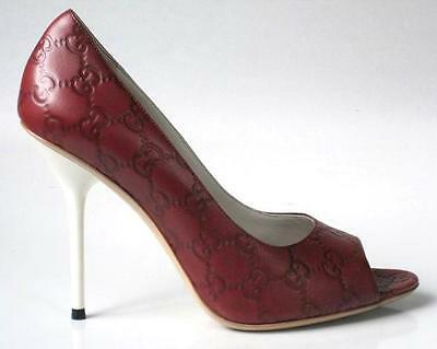 b1adefa5ef2 new  650 GUCCI brick GG leather logo open toe heels shoes 39.5 US 9.5 - sexy