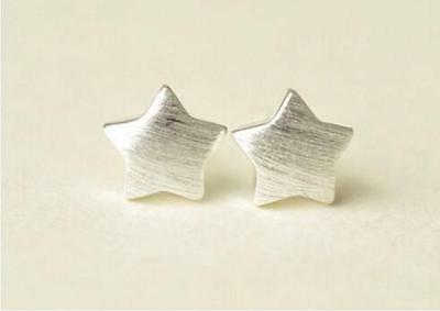 Shiny 925 Sterling Silver Plated Brushed Cute Small Star Stud Earrings Gift UK