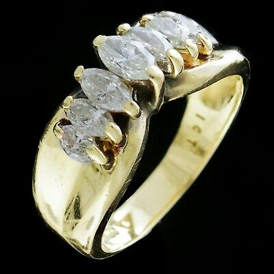 Vintage 14Kt Yellow Gold Marquise Diamond 1.0Ct Tw Diamond Ring 1980's