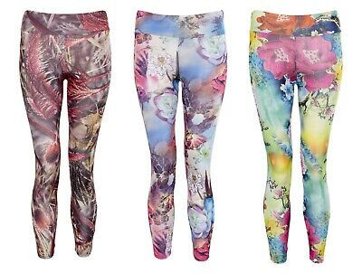 Girls Yoga Gym Floral Print Leggings Kids Run Workout Fitness Jog Bottoms High