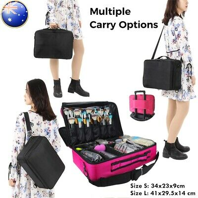 Portable Makeup Bag Cosmetic Make up Case Storage Box Travel Black Rose Red