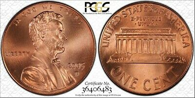 """2005 D Lincoln Cent Pcgs (Gold Shield) Sp68 Red Sms """"Spotless"""""""