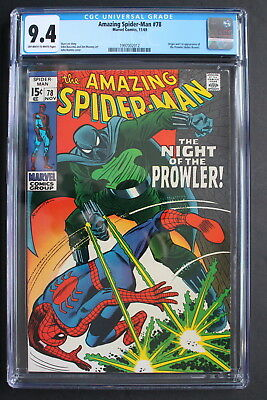 AMAZING SPIDER-MAN 78 ORIGIN 1st Hobie Brown PROWLER Black Antihero 1969 CGC 9.4