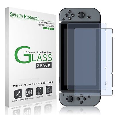 2-Pack For Nintendo Switch Premium Tempered Glass Screen Protector Case Cover /J
