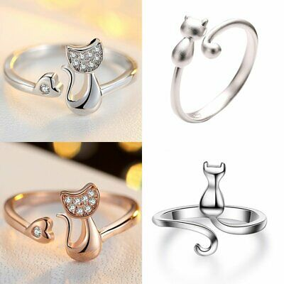 Fashion Women Silver Animal Cat Design Ring Crystal Adjustable Jewelry Gifts NEW