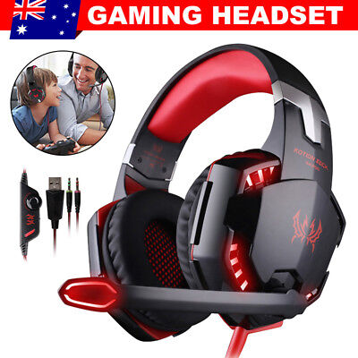 3.5mm Gaming Headset MIC LED Headphones Game for PC Mac PS4 Xbox One 360 ESM