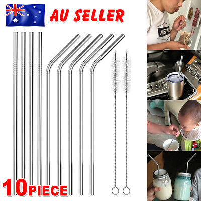 8 Stainless Steel Metal Drinking Straw Straws Bent Reusable Washable + 2 Brushes