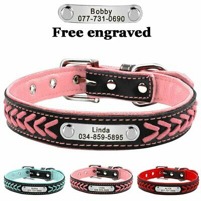 Braided Leather Personalised Dog Collar Pet Cat Custom ID Name Tags Small Large