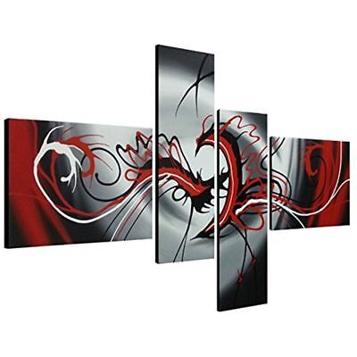 ZOPT185 4pcs modern abstract 100/% hand painted wall art OIL PAINTING ON CANVAS