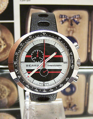 Super Vintage Leonidas / Heuer 1970'S Sears Chronograph Wrist Watch Serviced