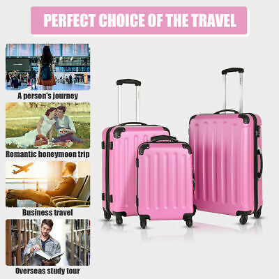 Giantex 3Pcs Luggage Set ABS Rolling Suitcase Trolley Set Travel Lightweigh Pink