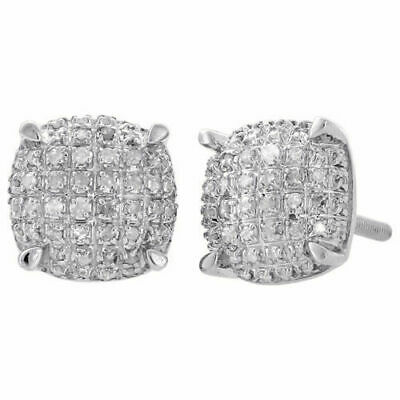 925 Sterling Silver Diamond Studs 8 mm Squircle 4 Prong Pave 3D Earrings 2 ct.