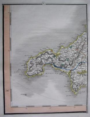 CORNWALL  LANDS END  St IVES  PENZANCE  BY JOHN CARY GENUINE ANTIQUE MAP  c1824