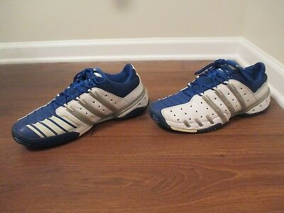 more photos a26e6 d6c18 Classic 2006 Used Worn Size 12 Adidas Barricade Shoes White, Silver, Blue