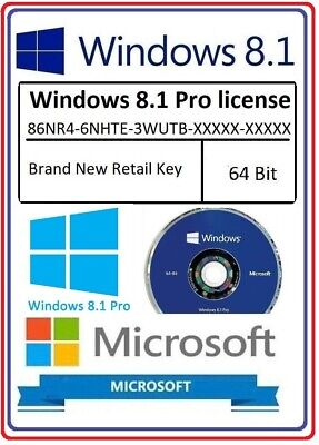 Official Microsoft Windows Pro Professional 8.1 64bit License key +  genuine DVD