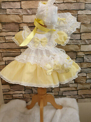 Dream Baby Girl Traditional White And Lemon Netted Hearts Dress All Sizes