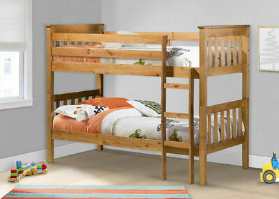 Portland Traditional Modern Pine or White Wooden Bunk Bed/ 2x Single 3ft Beds