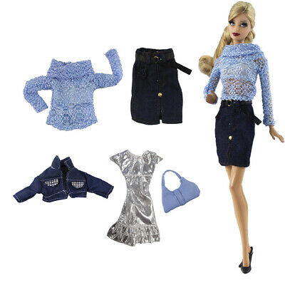 2 Sets Fashional Clothes for 1/6 Girl Dolls Top+Skirt and Dress+Jacket+Bag