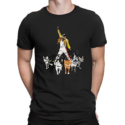 Freddie Mercury Queen and His Cats Funny Men's T Shirt Cotton Black Navy Shirt