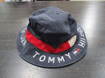 8a929bdb VINTAGE Tommy Hilfiger Bucket Hat Cap Blue Red Flag Spell Out Fishing Mens  90s *