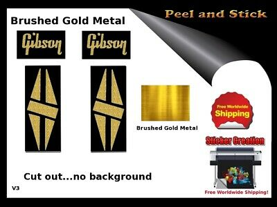 Gibson Guitar Headstock Decal Restoration Inlay Sticker Logo Peel and Stick V3