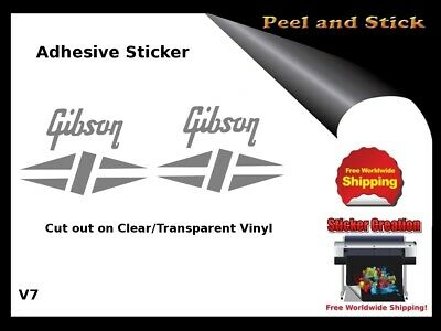 Gibson Guitar Headstock Decal Restoration Inlay Sticker Logo Peel and Stick V7