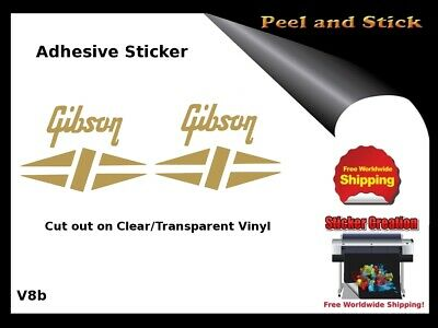 Gibson Guitar Headstock Decal Restoration Inlay Sticker Logo Peel and Stick V8