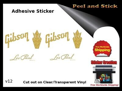 Gibson Guitar Headstock Decal Restoration Inlay Sticker Logo Peel and Stick V12