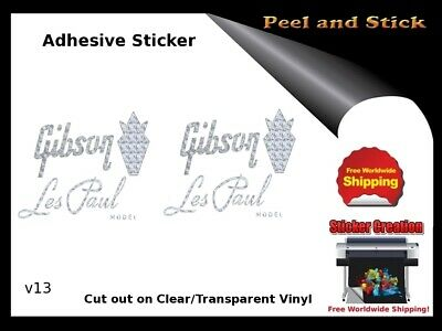 Gibson Guitar Headstock Decal Restoration Inlay Sticker Logo Peel and Stick V13