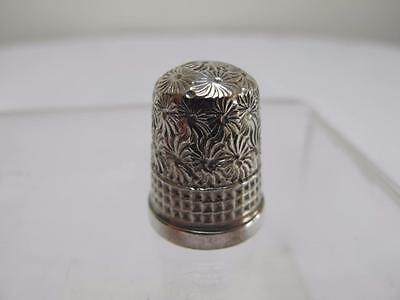 ANTIQUE EDWARDIAN H/M STERLING SILVER JAMES SWAN DAISY & WAFFLE THIMBLE c1913