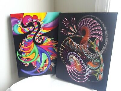 TWO Stretched Canvas Prints Living Room Wall Artwork 16x12 Colorful Chinese ART
